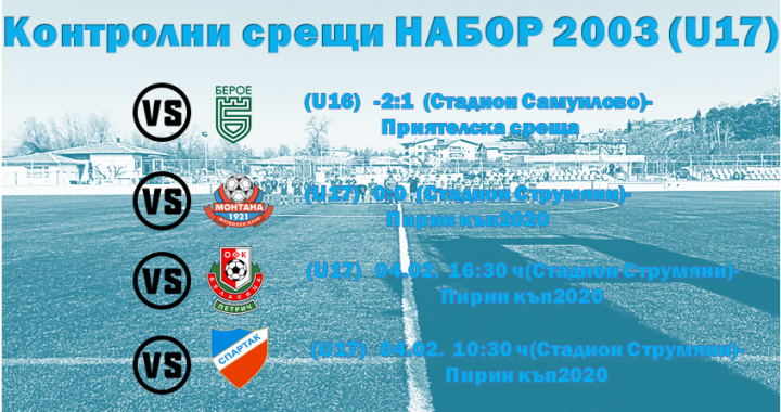 Зимна подготовка 2020 ! Набор 2003 (U17)